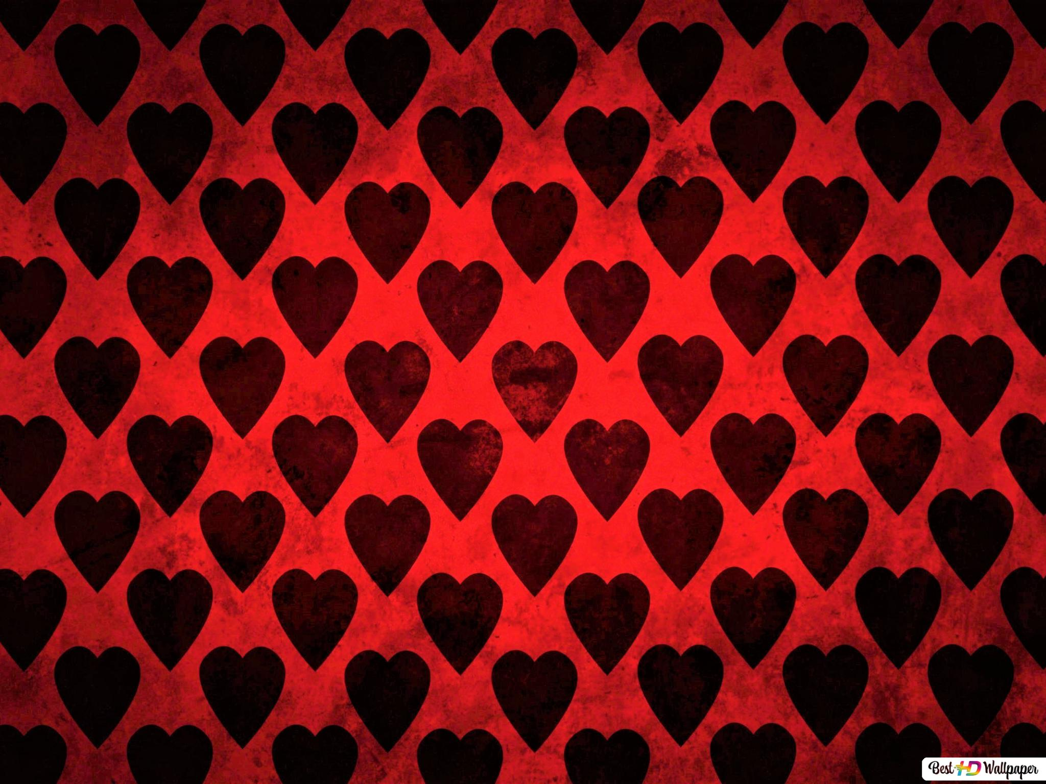 Valentine S Day Black Hearts Pattern Hd Wallpaper Download