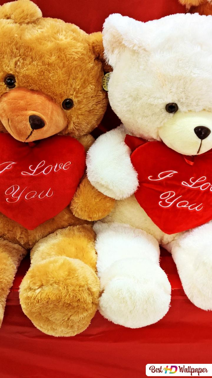 Valentines Day Cute Teddy Bears With The Hearts Hd Wallpaper Download