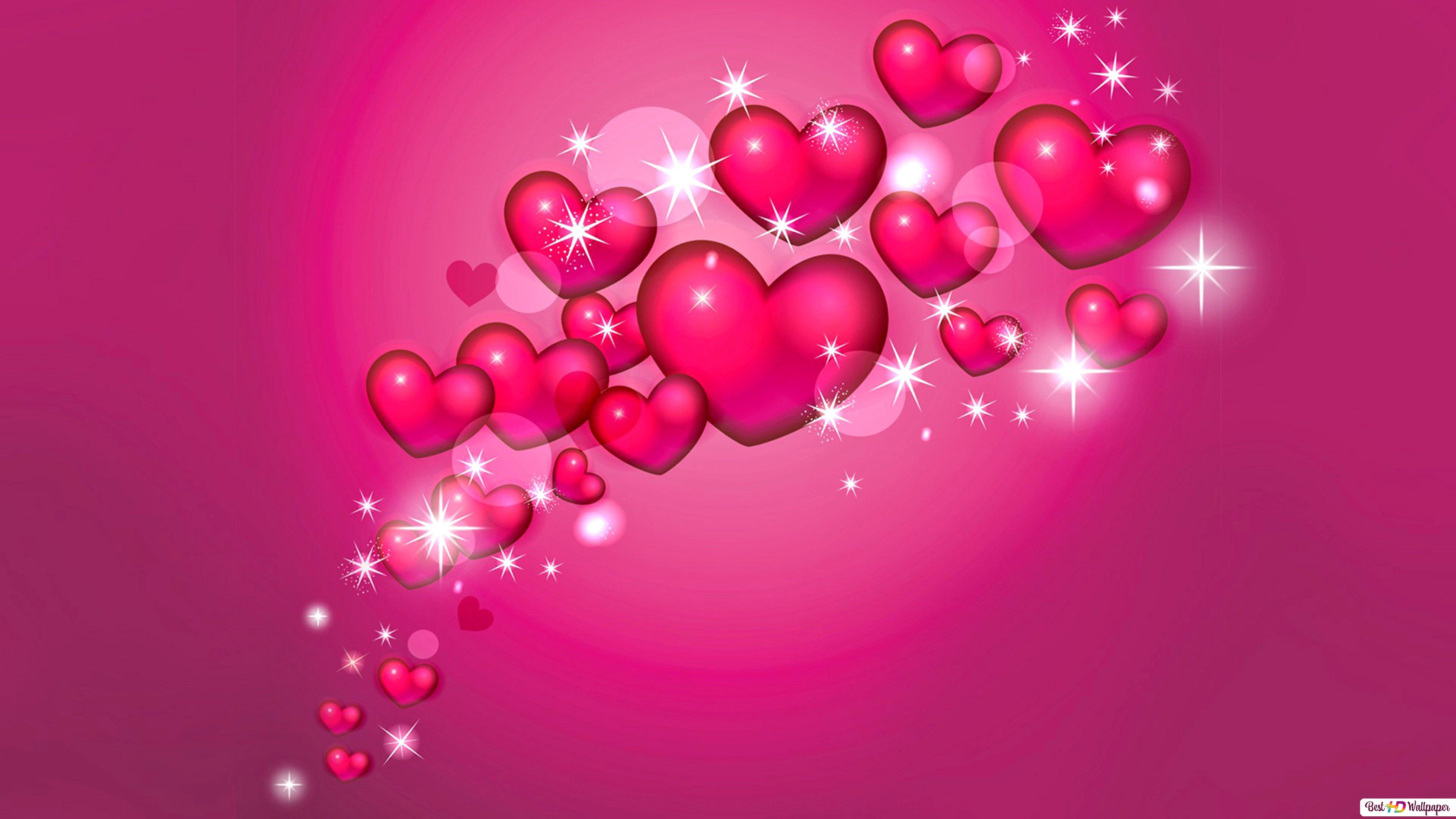 Valentine S Day Lovely Pink Hearts Background Hd Wallpaper Download