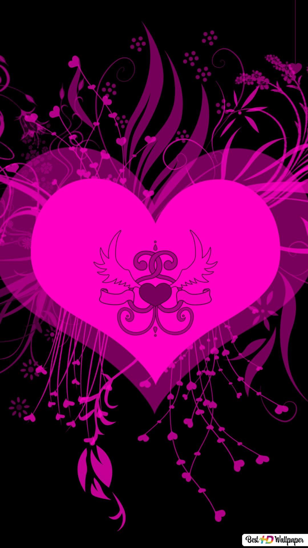 valentine s day neon pink heart wallpaper 1080x1920 13396 165