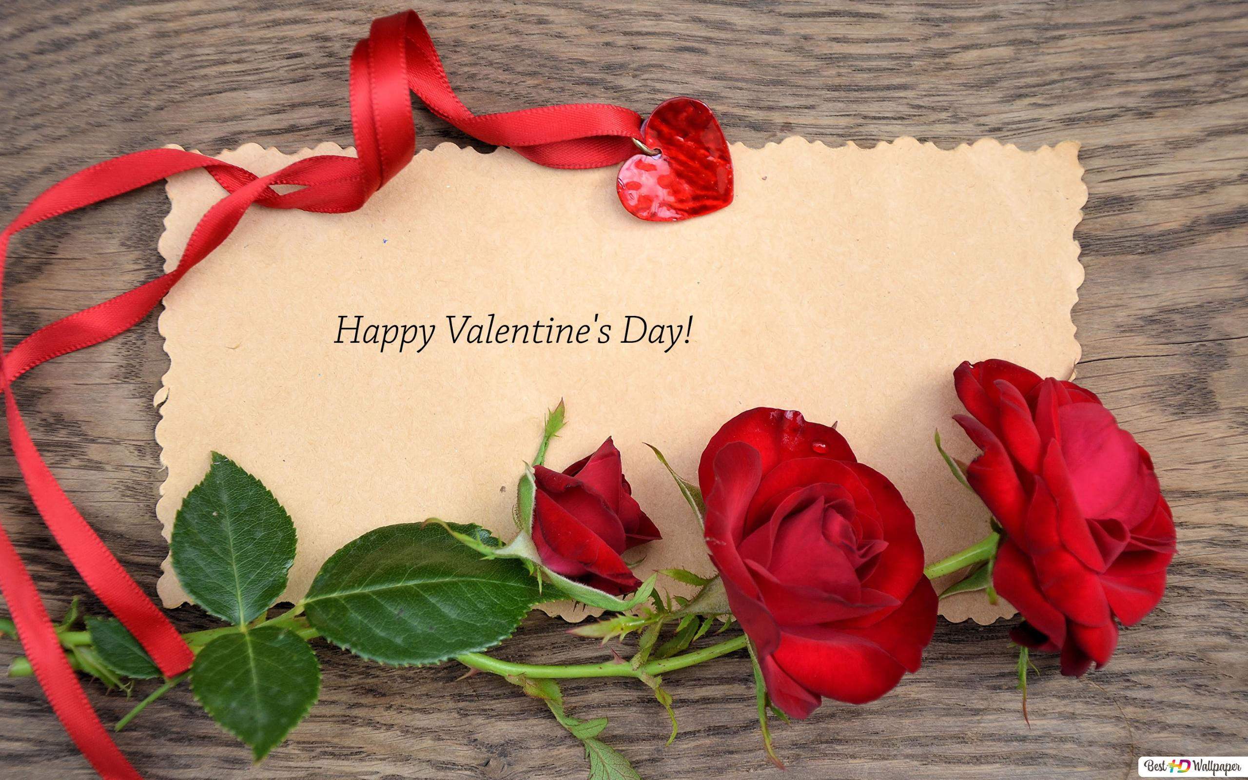 Valentines Day Wishes Note And Red Roses Hd Wallpaper Download