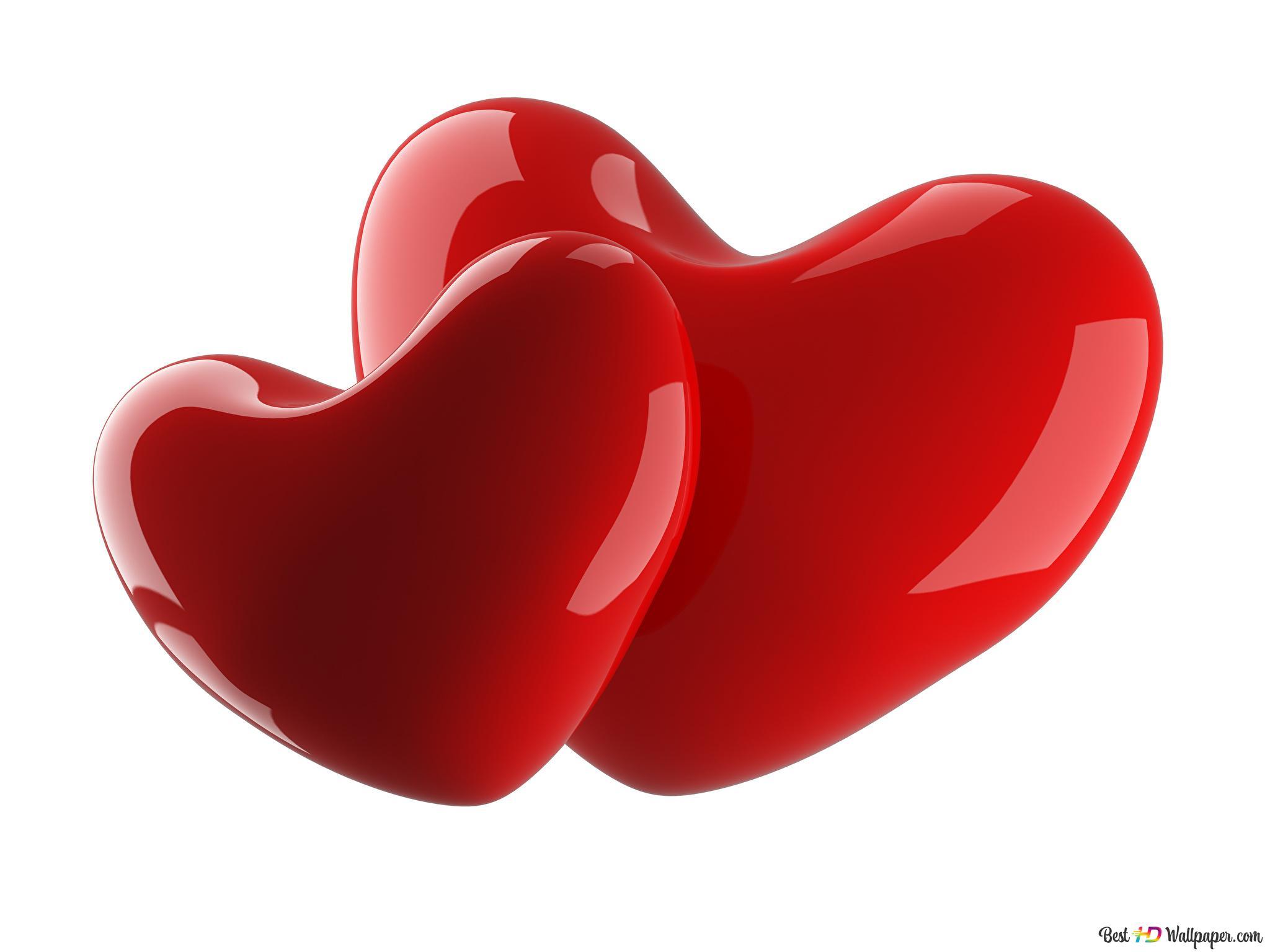 Valentinstag 3d Rote Paare Herz Hd Hintergrundbilder Herunterladen