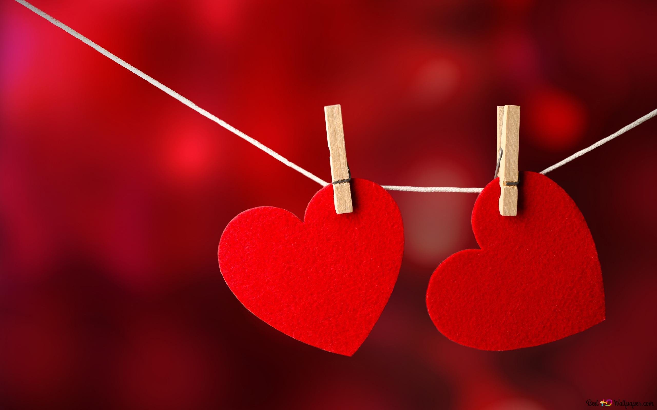 Valentinstag Herz Auf Der Wascheleine Hangen Hd Hintergrundbilder