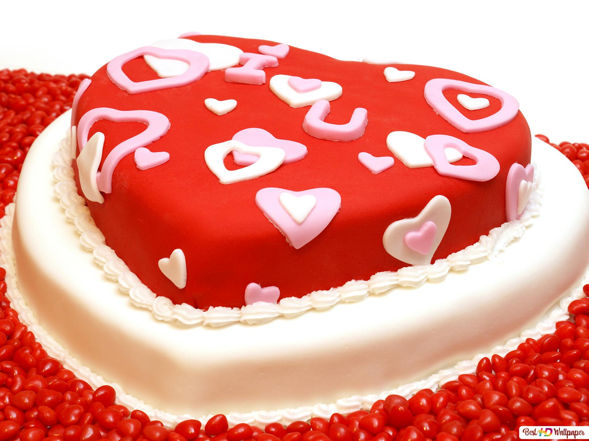 Valentinstag Herz Kuchen Und Sussigkeiten Hd Hintergrundbilder