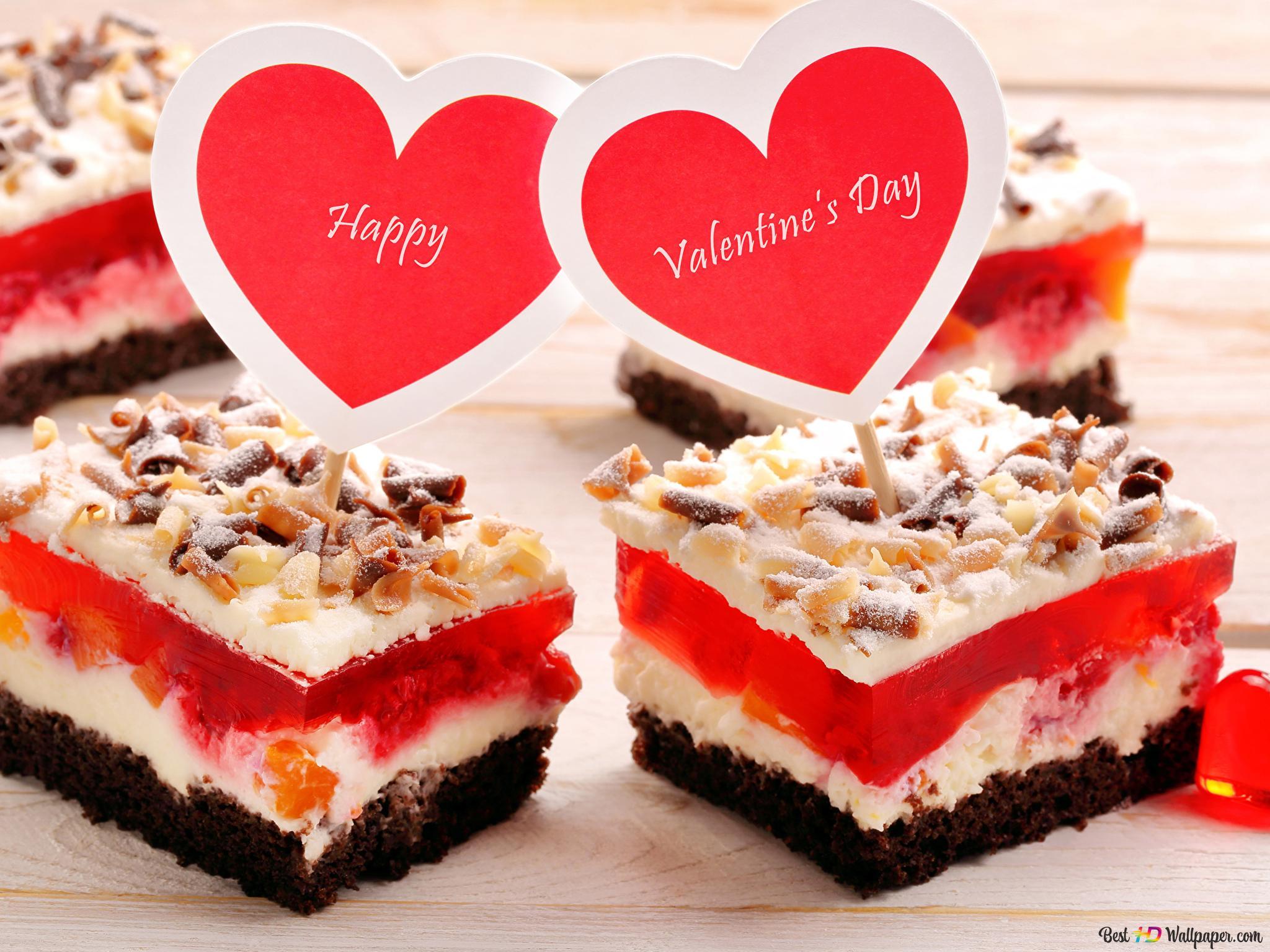 Valentinstag Kuchen Mit Herz Topper Hd Hintergrundbilder Herunterladen