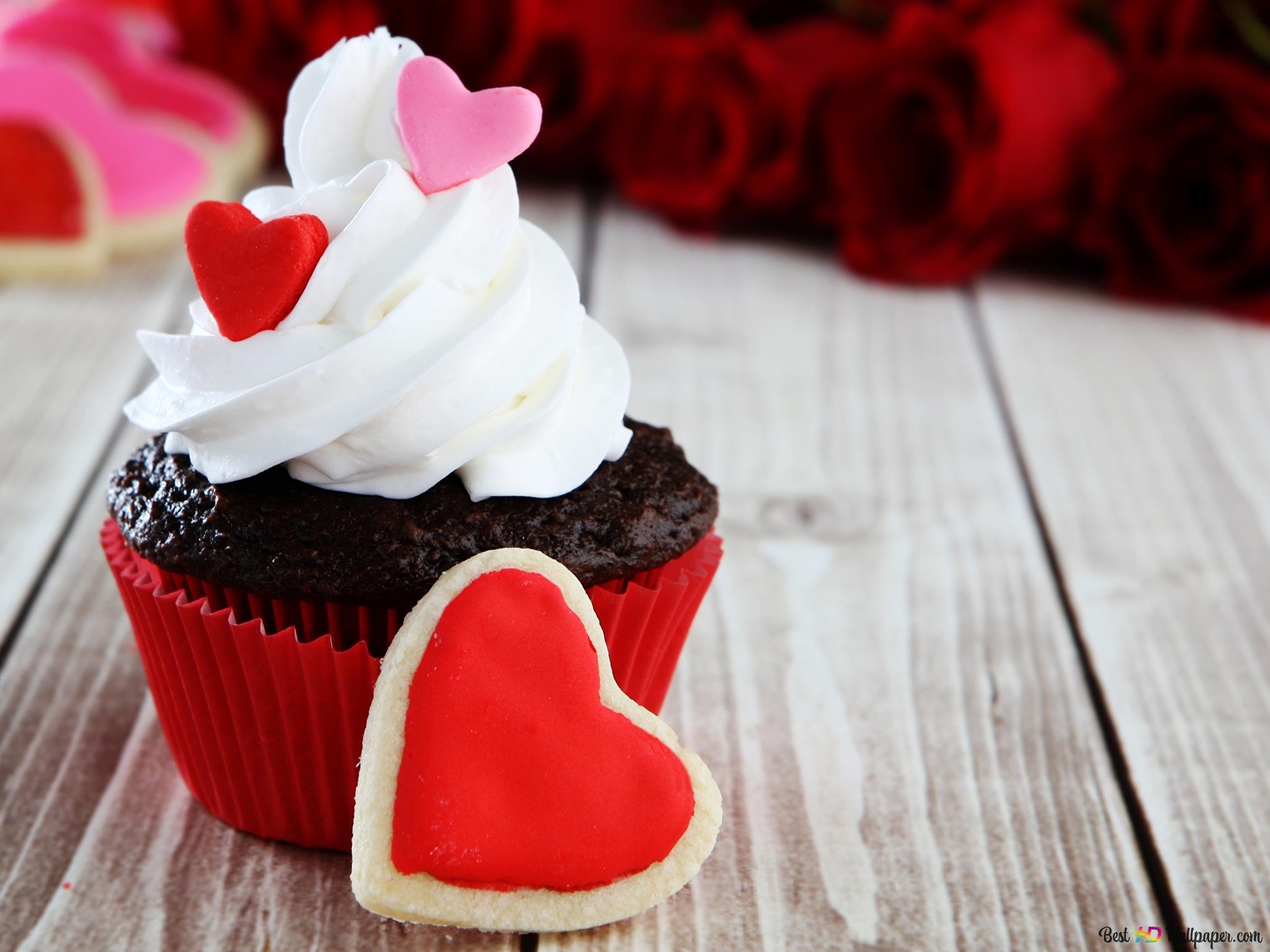 Valentinstag Kuchen Und Das Herz Cookie Hd Hintergrundbilder