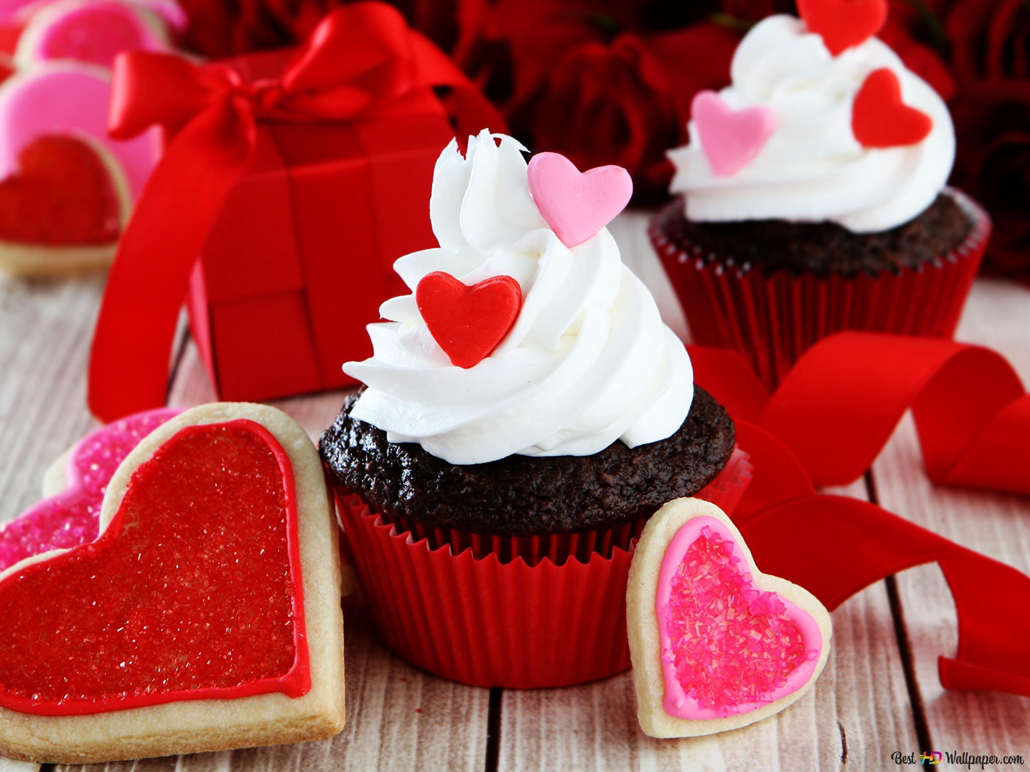 Valentinstag Kuchen Und Die Herzplatzchen Hd Hintergrundbilder