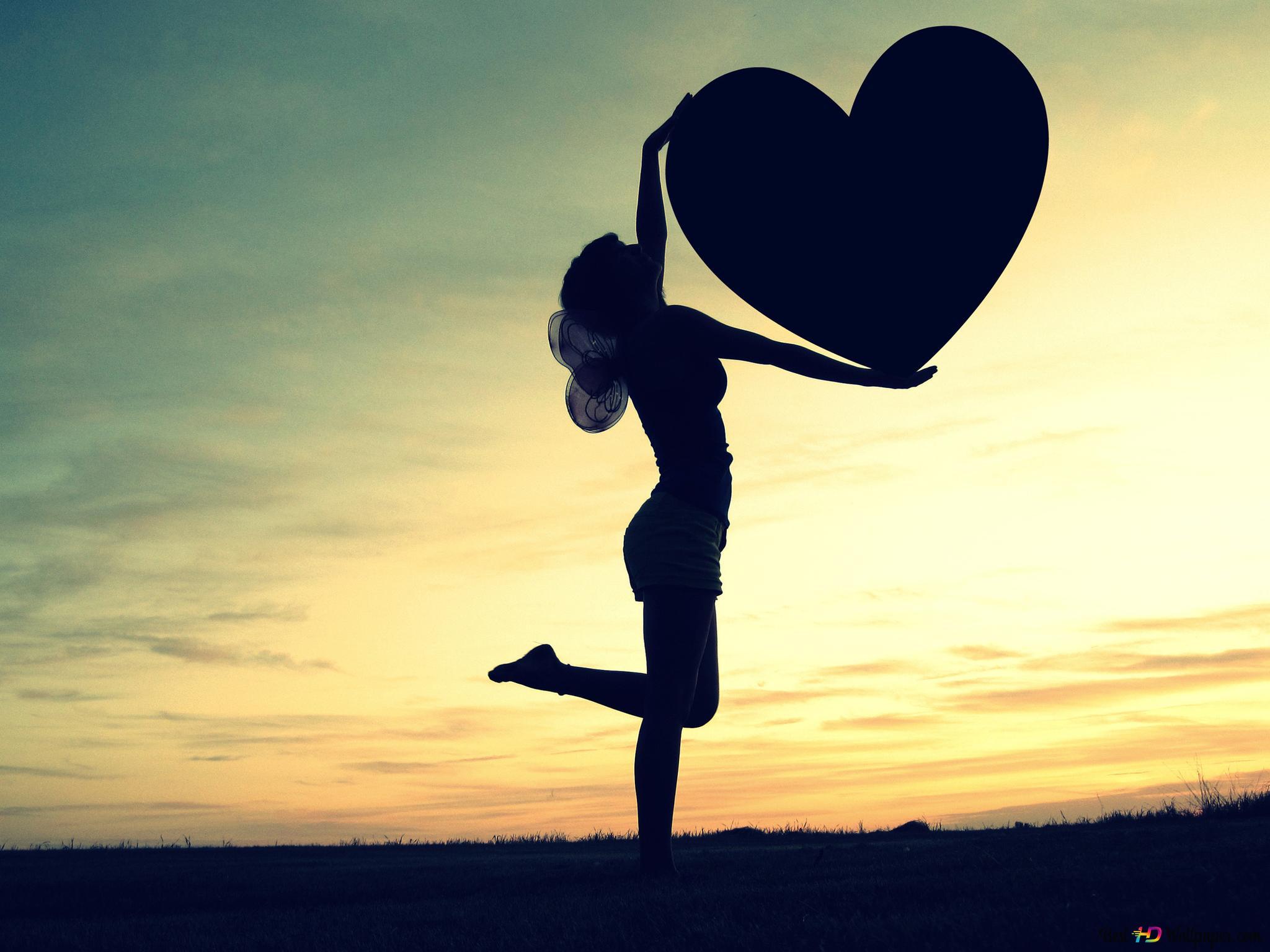 Valentinstag Mädchen Mit Dem Herzen Hd Hintergrundbilder Herunterladen