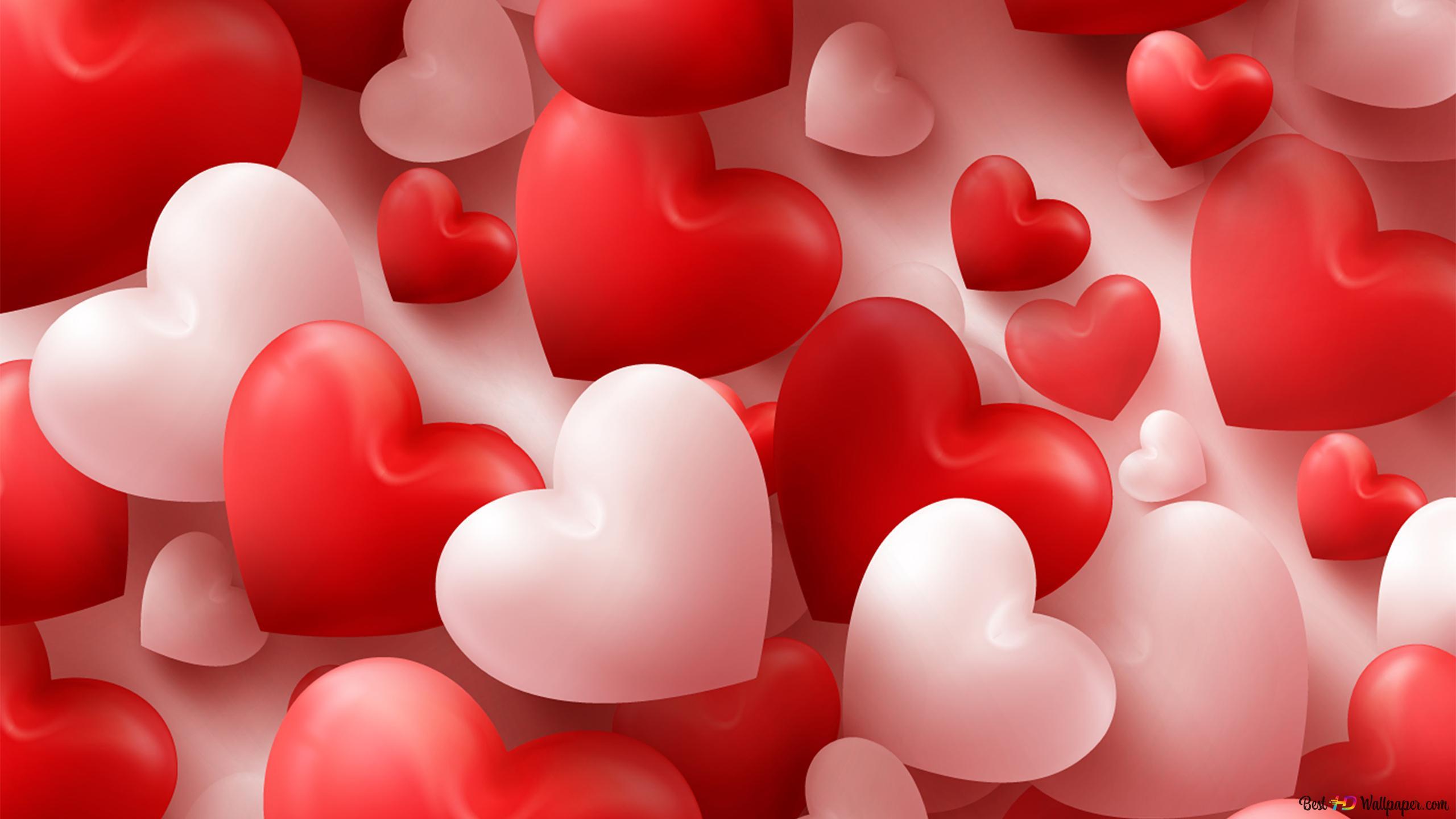 Valentinstag Nette Herzballone Hd Hintergrundbilder Herunterladen
