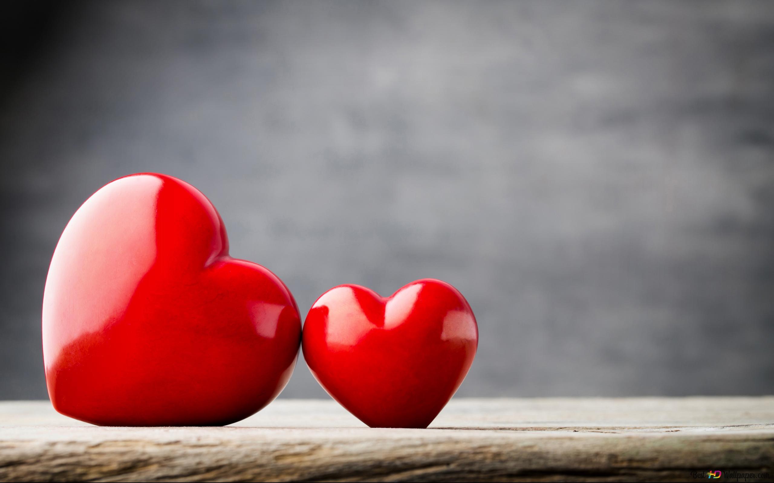 Valentinstag Niedliches Rote Herzen Paar Hd Hintergrundbilder