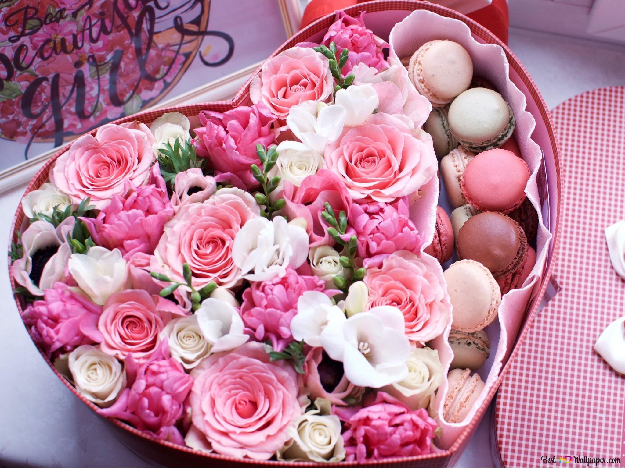 Valentinstag Rosa Rosen Und Macarons In Der Herz Box Hd