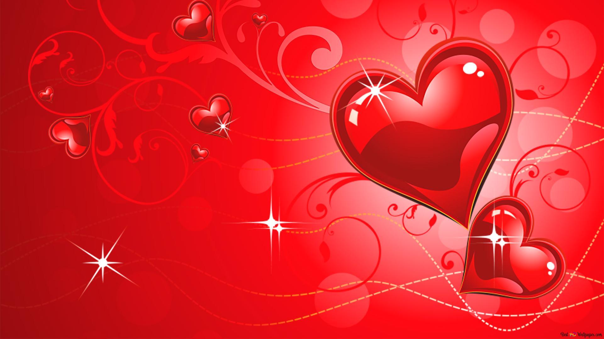 Valentinstag Rote Herzen Und Funkelt Hd Hintergrundbilder
