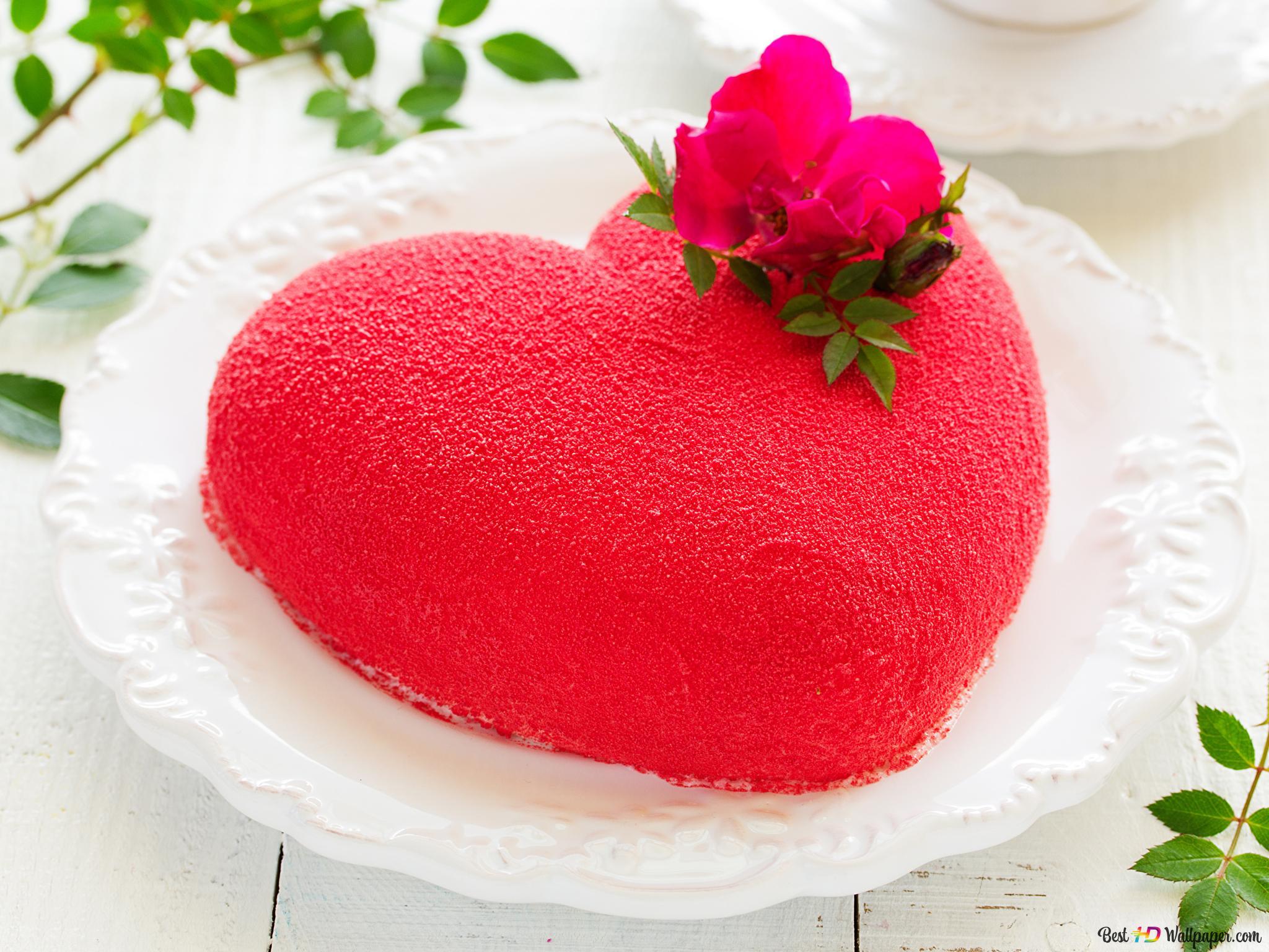 Valentinstag Roter Herz Kuchen Hd Hintergrundbilder Herunterladen