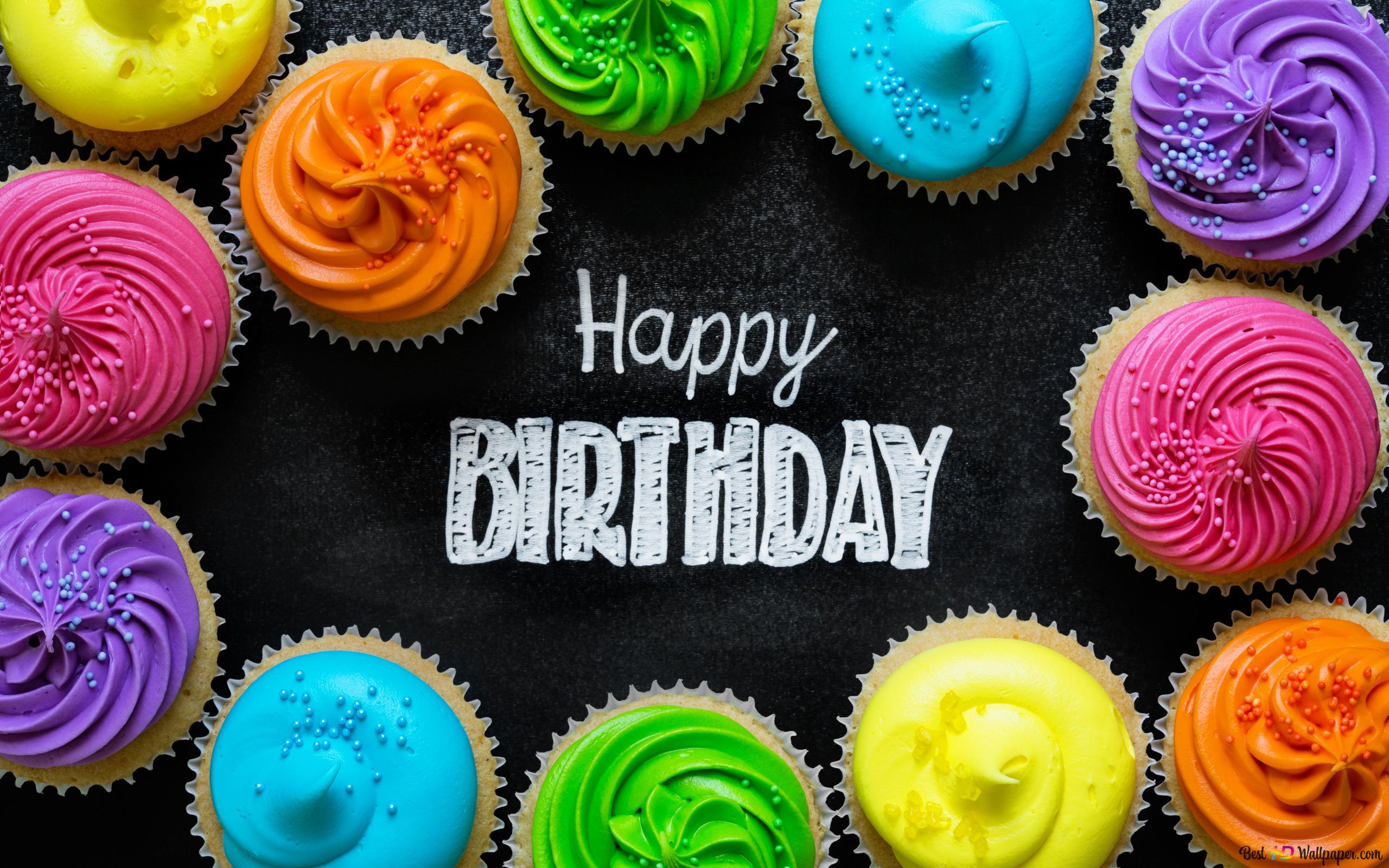 Verjaardag Kleuren Cupcake Hd Wallpaper Downloaden