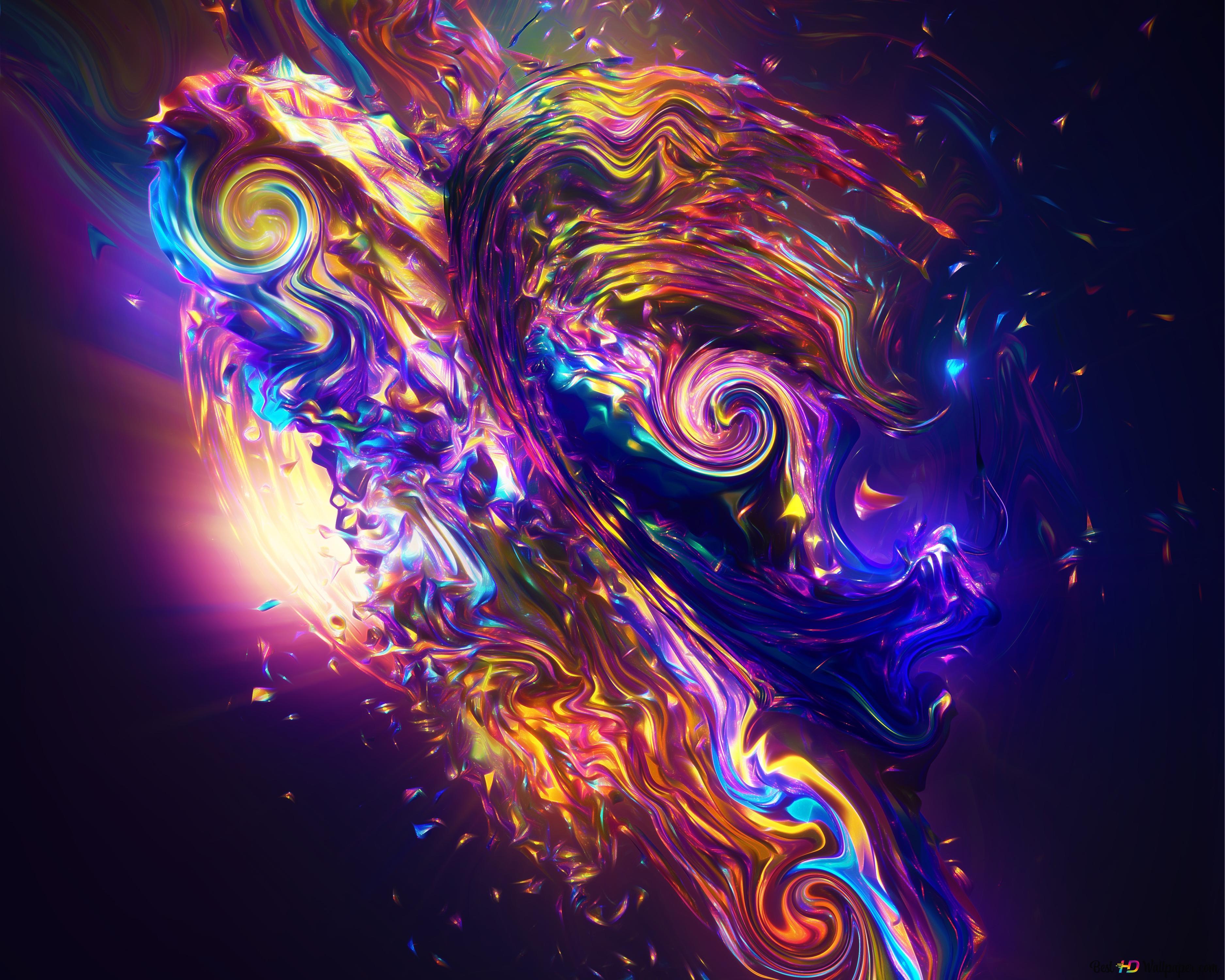 Vibrant Abstract Waves Hd Wallpaper Download