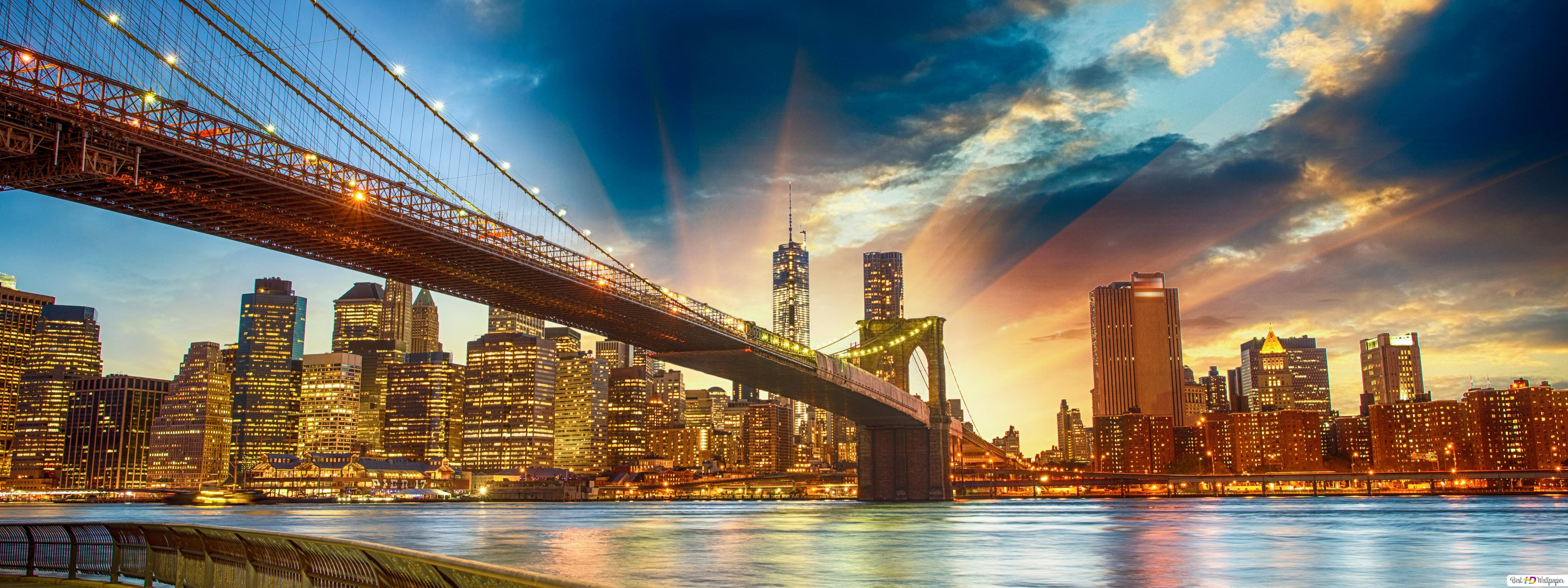 View Of Brooklyn Bridge And New York City Hd Wallpaper Download