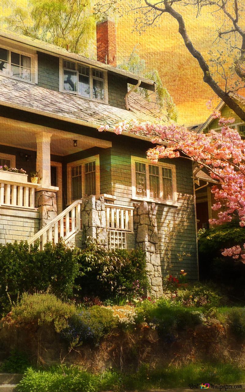 Vintage House In Springtime Hd Wallpaper Download