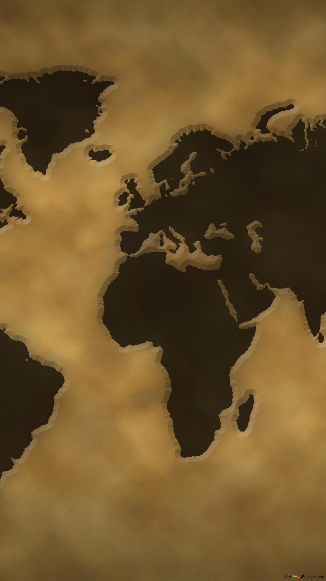 Vintage World Map HD Wallpaper