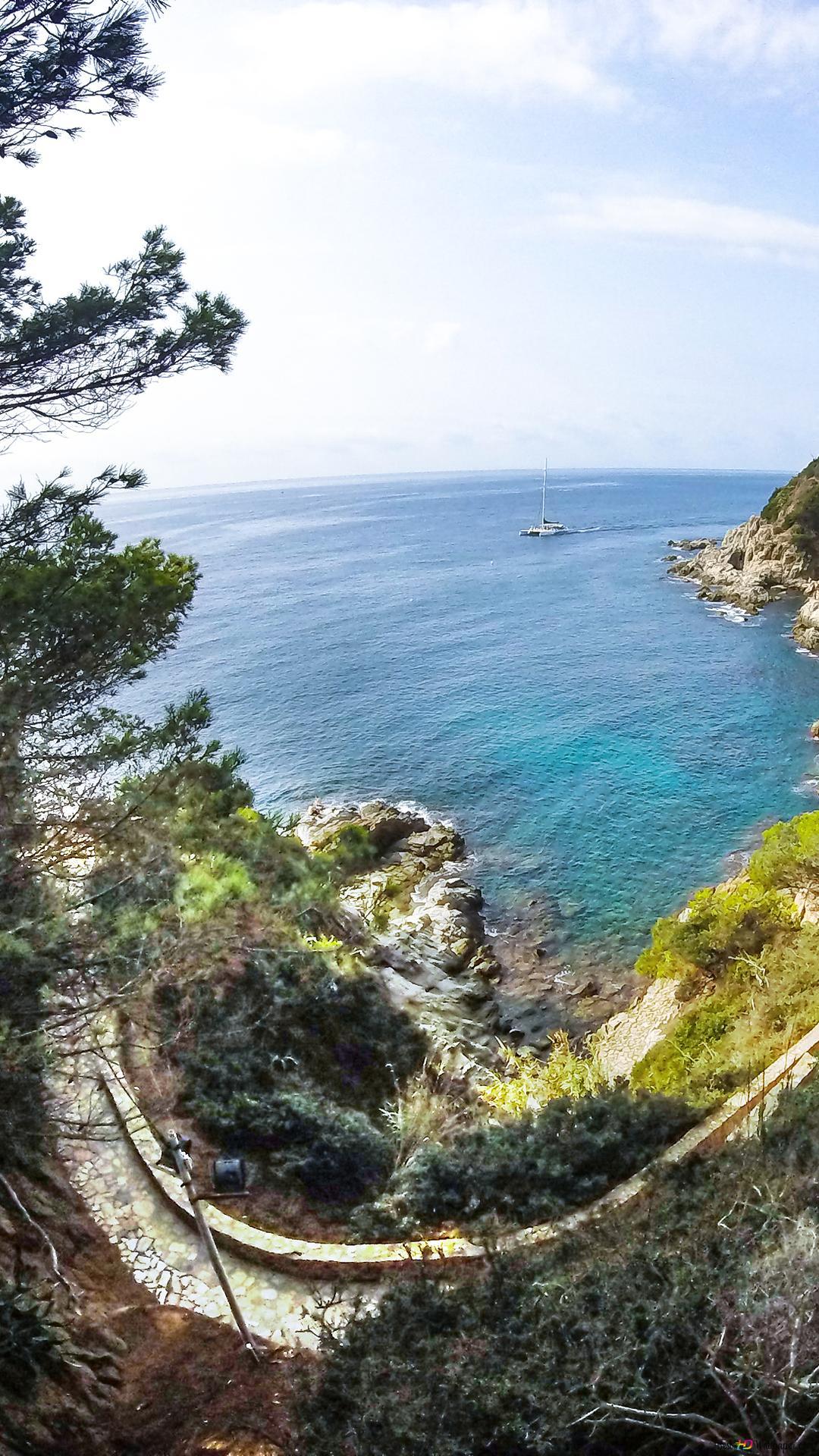 Vista Mare Scena Di Paesaggio A Lloret De Mar Download Di Sfondi Hd