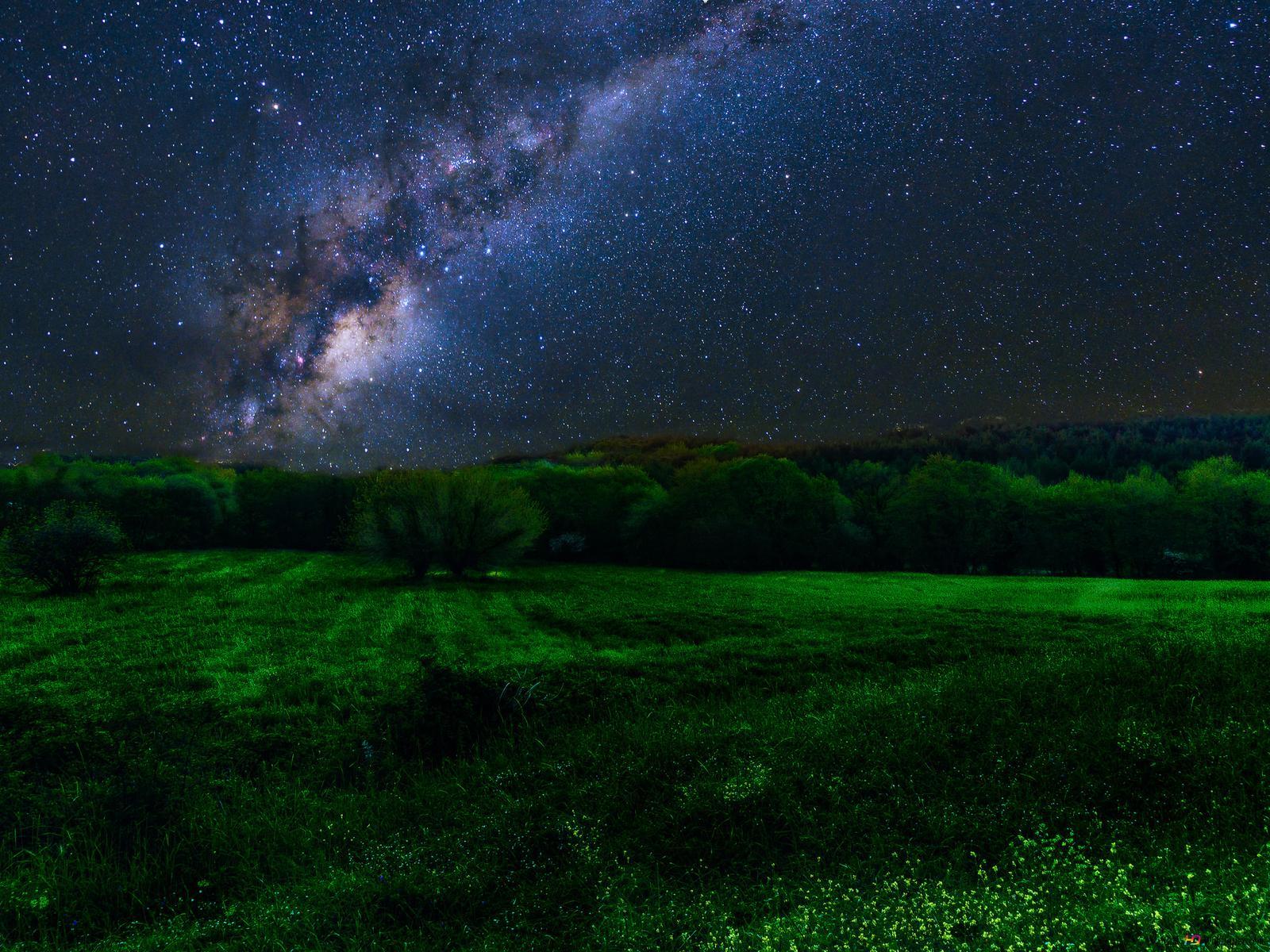 Voie Lactée Sur Green Field Hd Fond Décran Télécharger