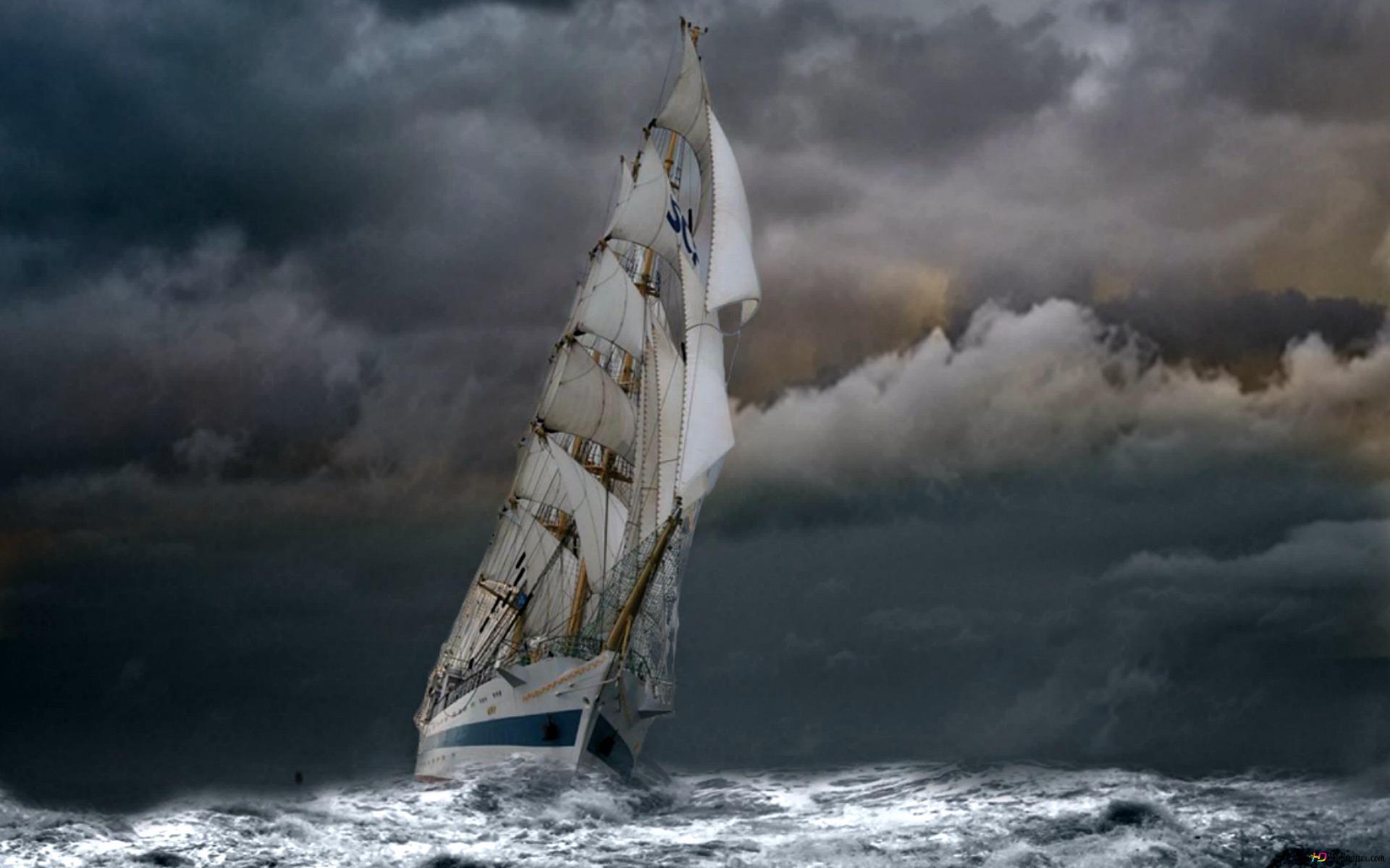 Voilier Sur Mer Stormy Hd Fond D Ecran Telecharger