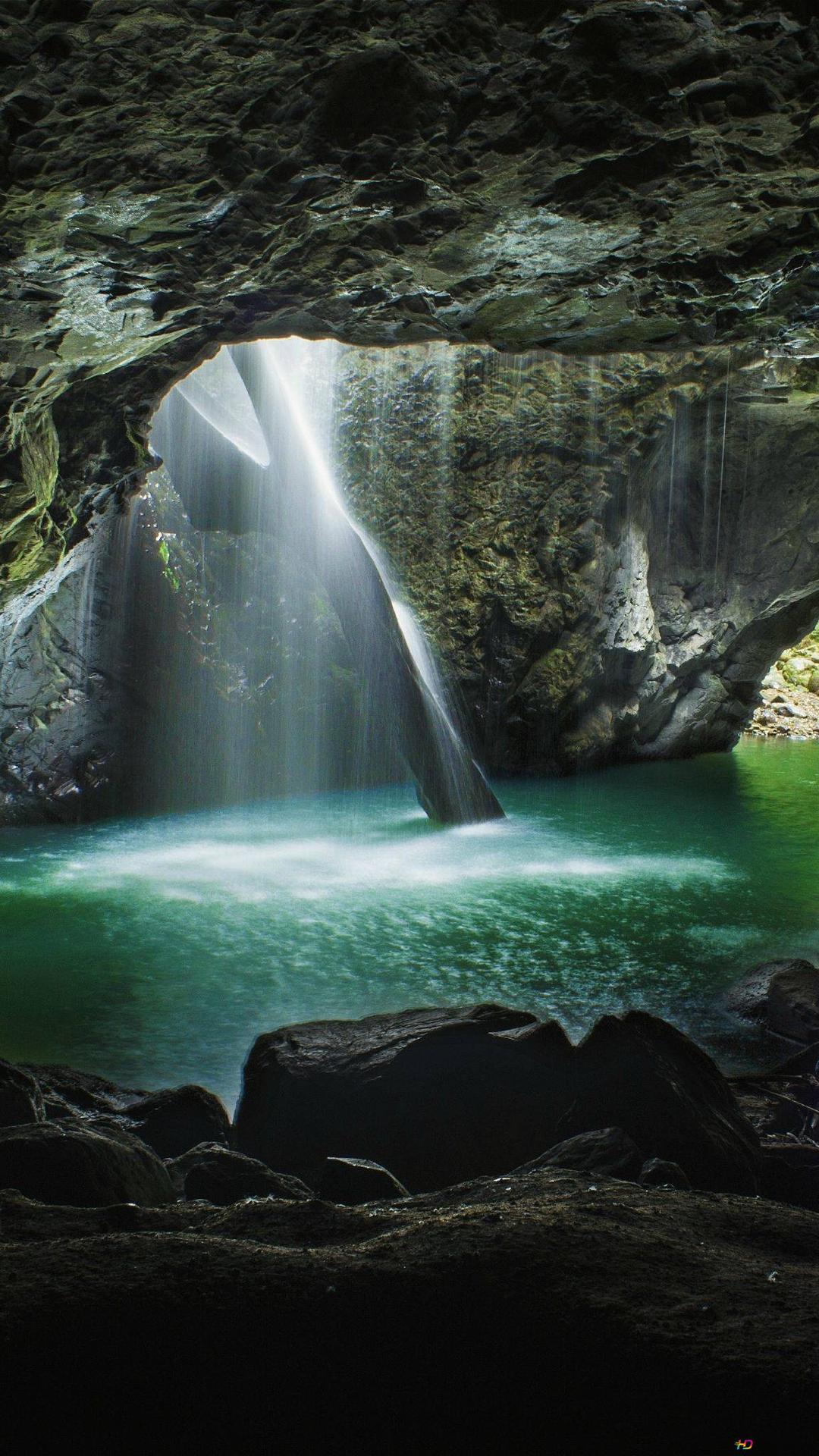 Wasserfall Und Naturliche Brucke In Wald Hd Hintergrundbilder Herunterladen