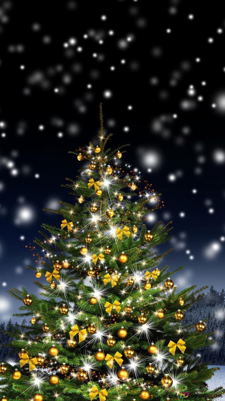 Weihnachten Hd Bilder.Weihnachten Glänzender Baum Hd Hintergrundbilder Herunterladen