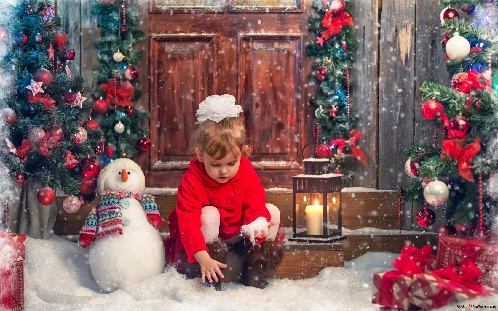 Weihnachten Mit Schnee Spielen Hd Hintergrundbilder Herunterladen