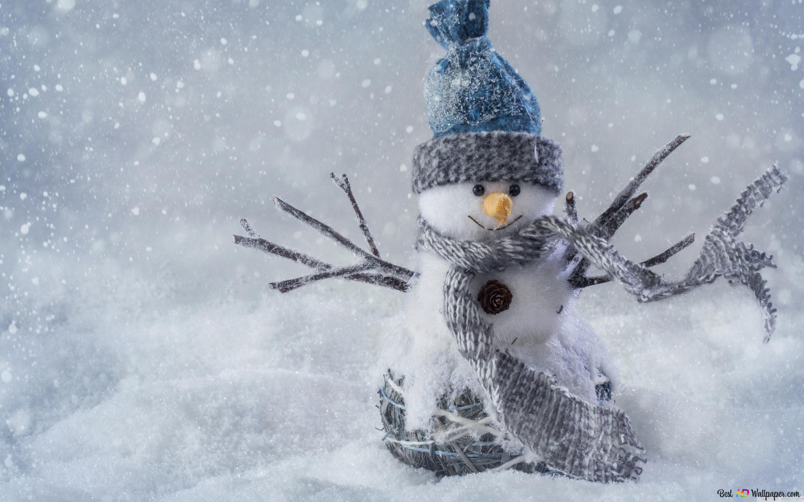 Weihnachten Schneemann Im Schnee Hd Hintergrundbilder Herunterladen