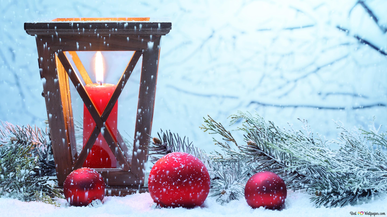 Weihnachtskerze Und Schnee Hd Hintergrundbilder Herunterladen