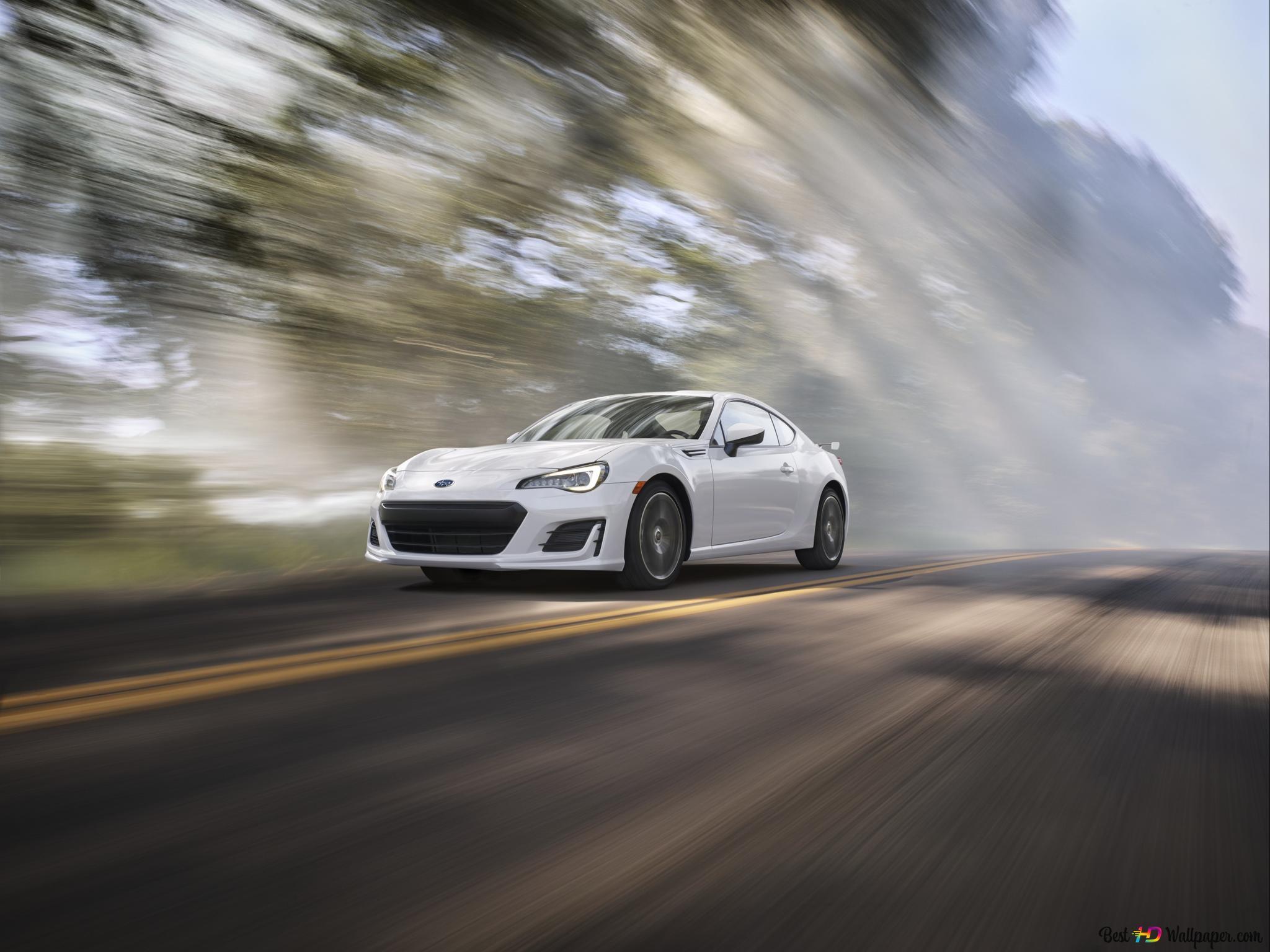 White Subaru Brz Sport Car Going Son Fast Hd Wallpaper Download
