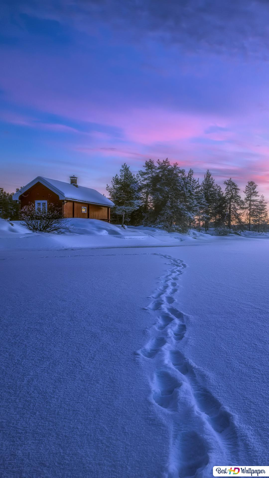 Winter Cabin And Sunset Hd Wallpaper Download