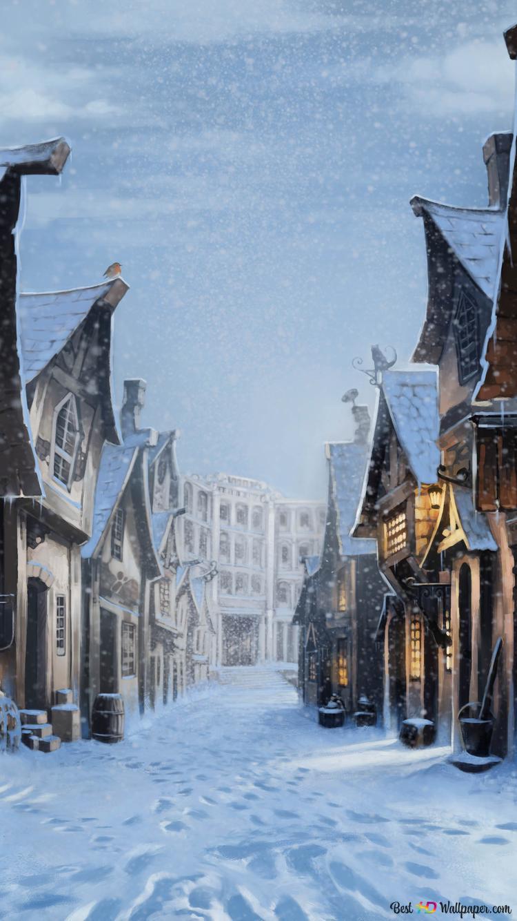 Winter In Harry Potters Winkelgasse Hd Hintergrundbilder