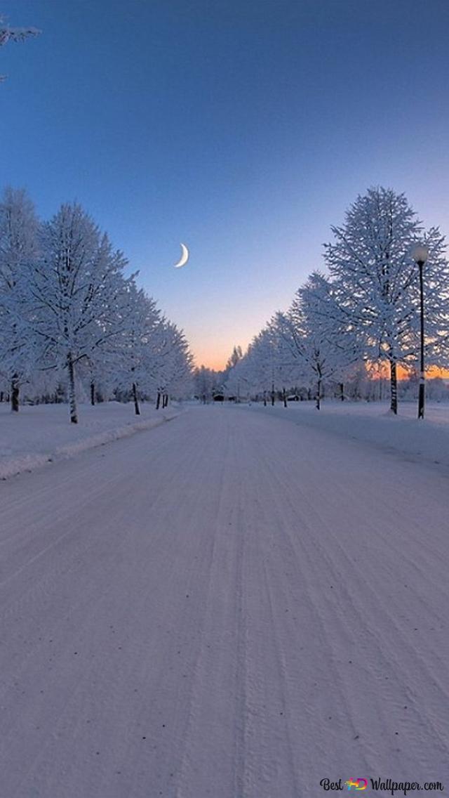 Winter Road Under A Beautiful Crescent Moon Hd Wallpaper Download