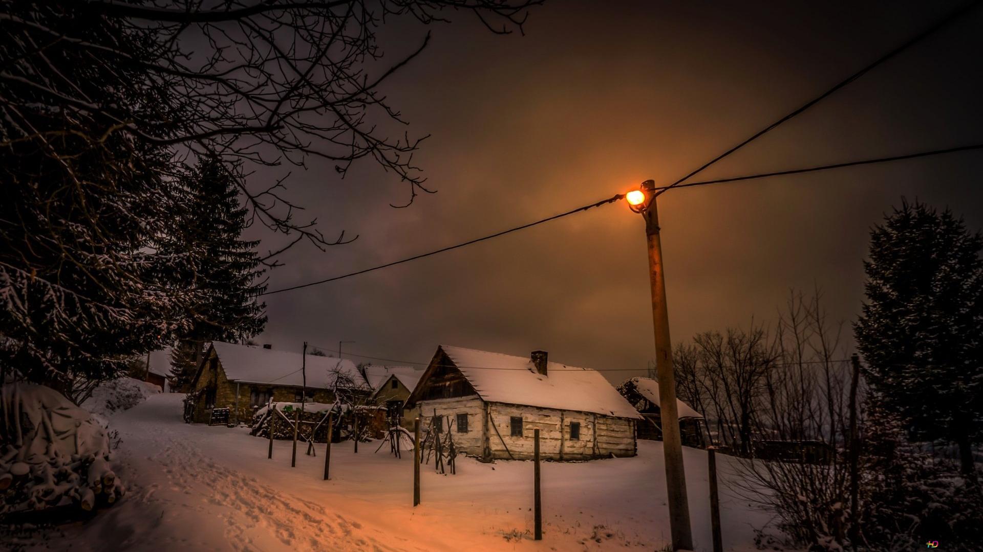 Winter Village At Night Hd Wallpaper Download