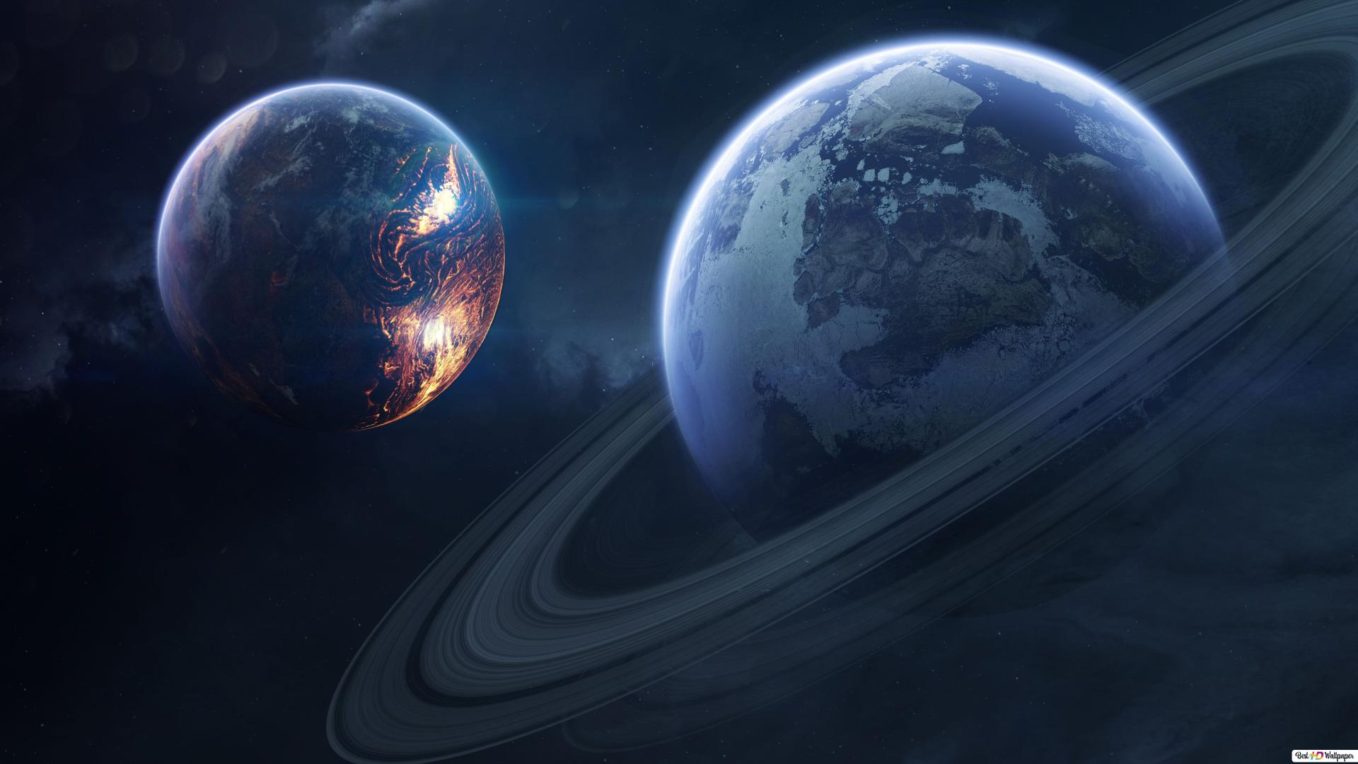 World And Saturn Hd Wallpaper Download