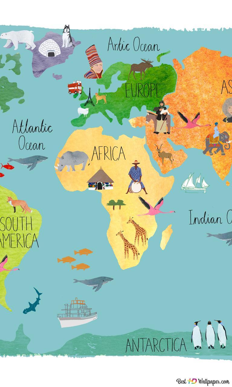 World Map For Kids HD Wallpaper