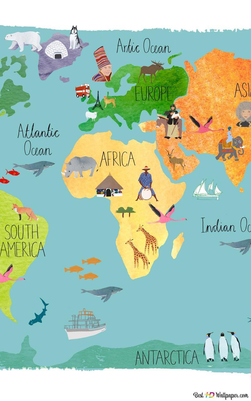 world map for kids wallpaper 800x1280 28463 198