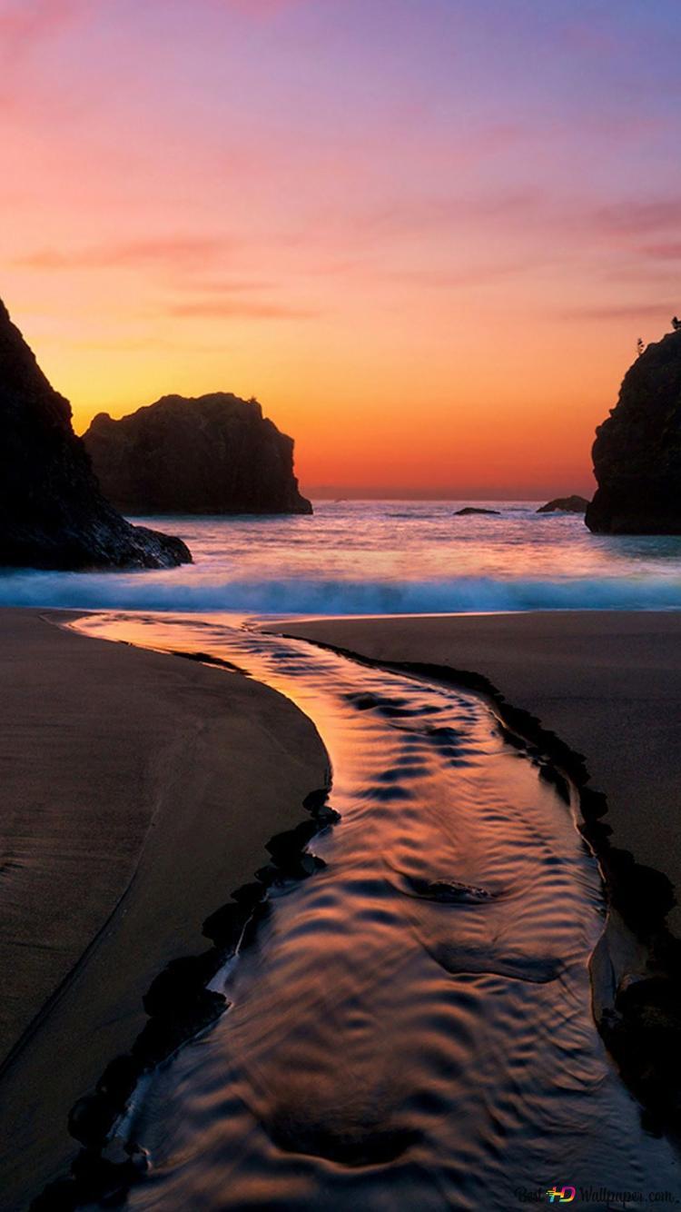 夕焼けの海のラグーン Hd壁紙のダウンロード
