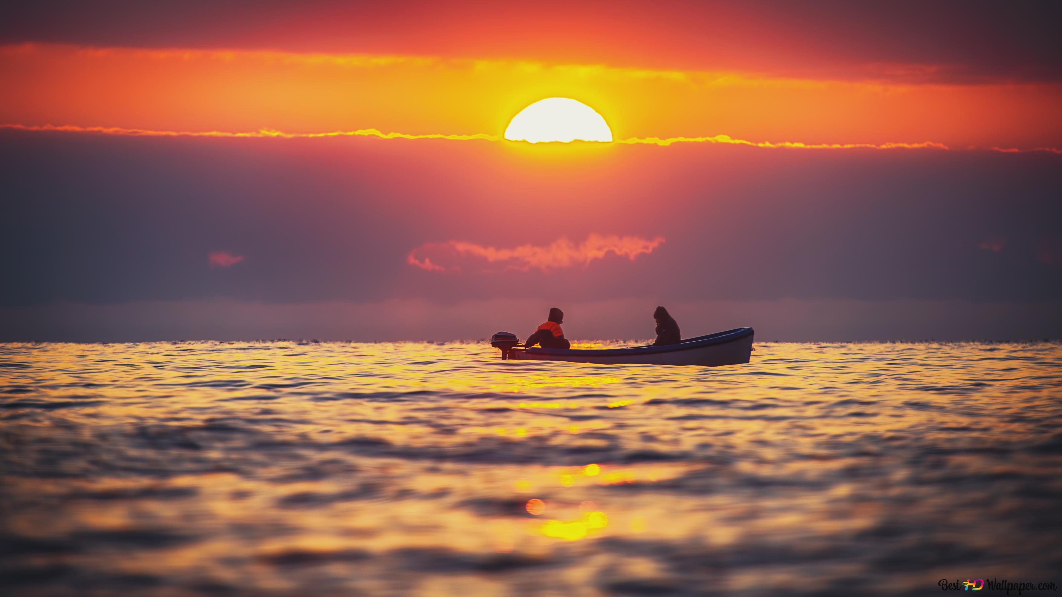 夕陽在深海高清壁紙下載