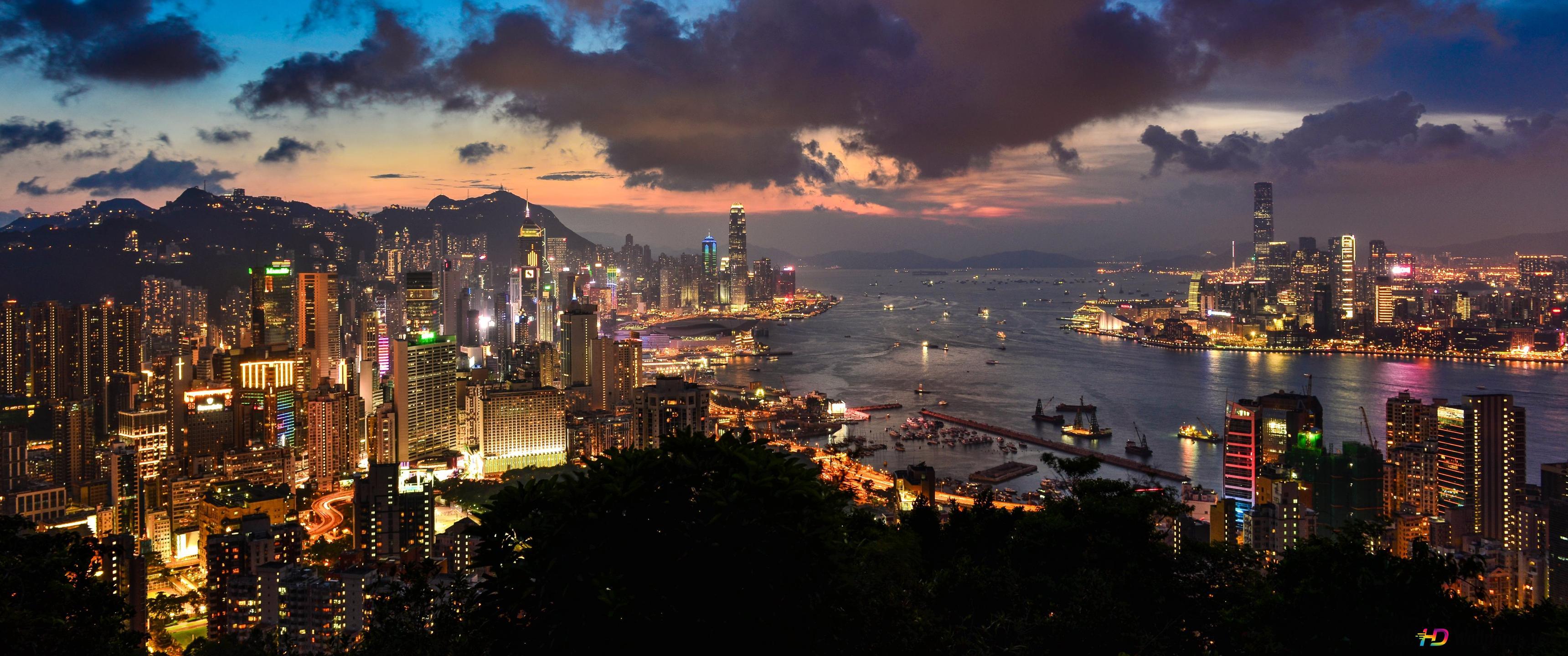 香港の夜と海 Hd壁紙のダウンロード