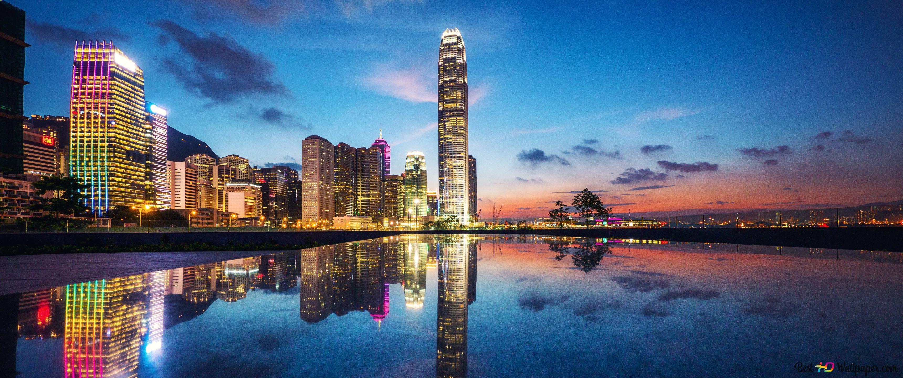 香港と彼の夜の美しさ Hd壁紙のダウンロード