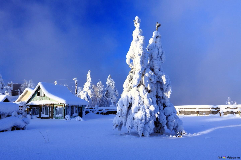 小さな村で白い冬 Hd壁紙のダウンロード