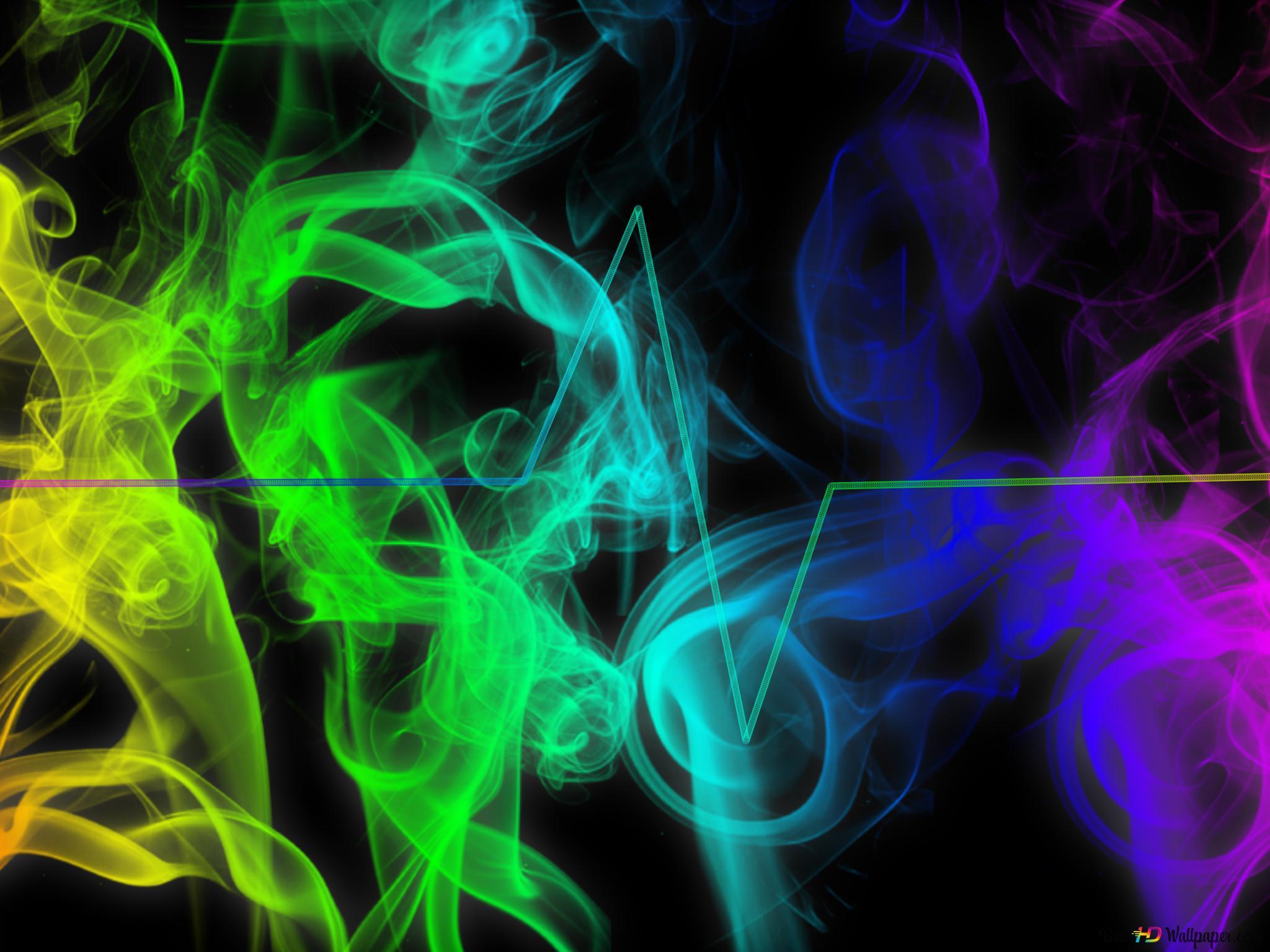 心臓のリズムの上にカラフルな抽象的な煙と黒の背景 Hd壁紙のダウンロード