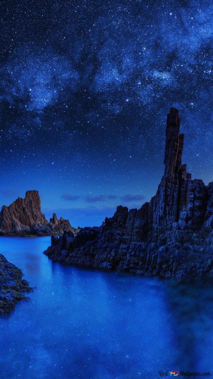 星月夜の海ロックス Hd壁紙のダウンロード
