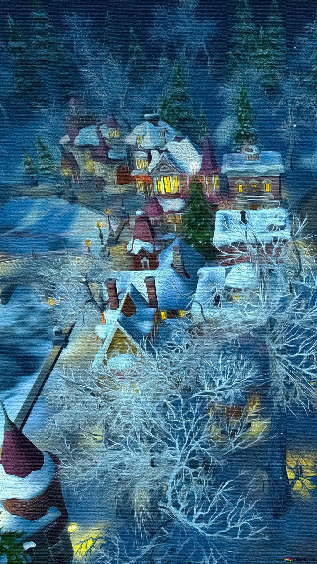 雪の村の絵画 Hd壁紙のダウンロード