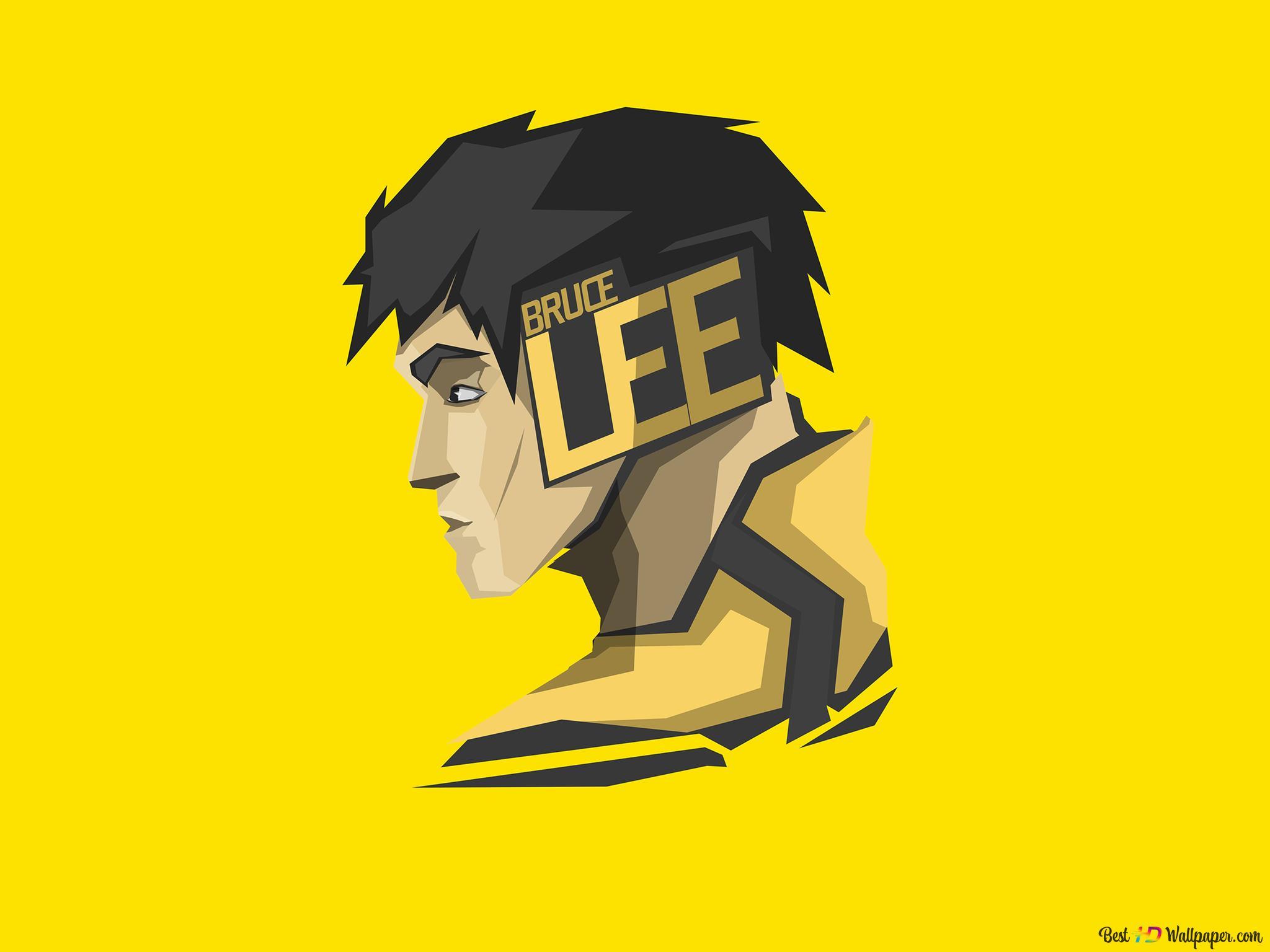 演员和武术家李小龙极简的黄色壁纸背景高清壁纸下载