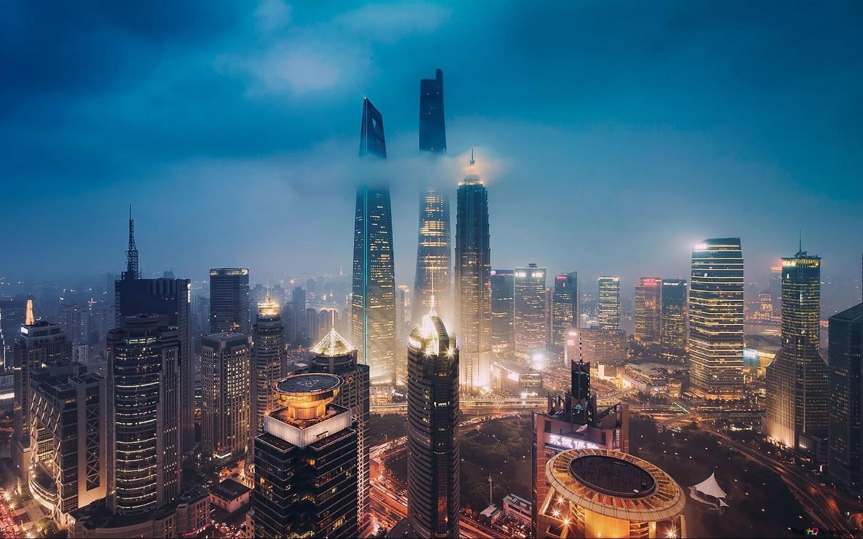 夜に超高層ビルの建物 Hd壁紙のダウンロード
