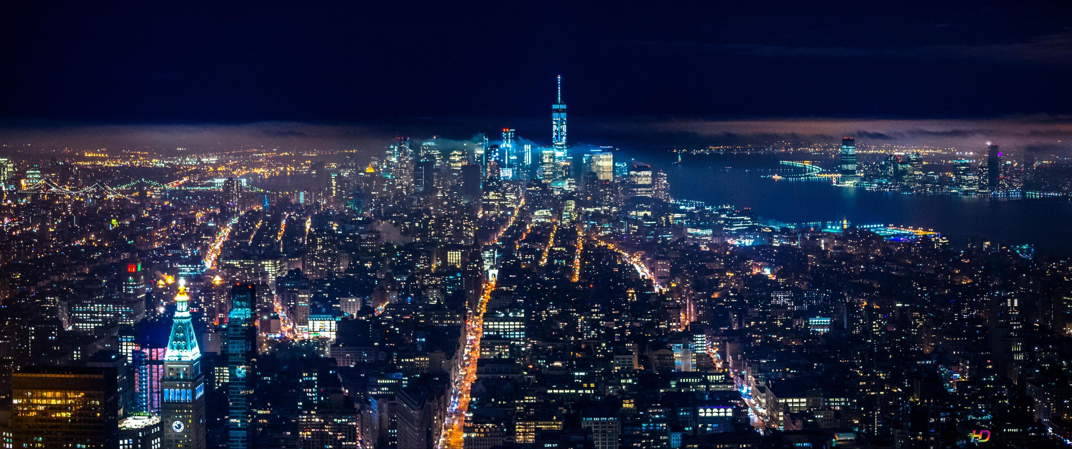 夜に街の美しい景色 Hd壁紙のダウンロード
