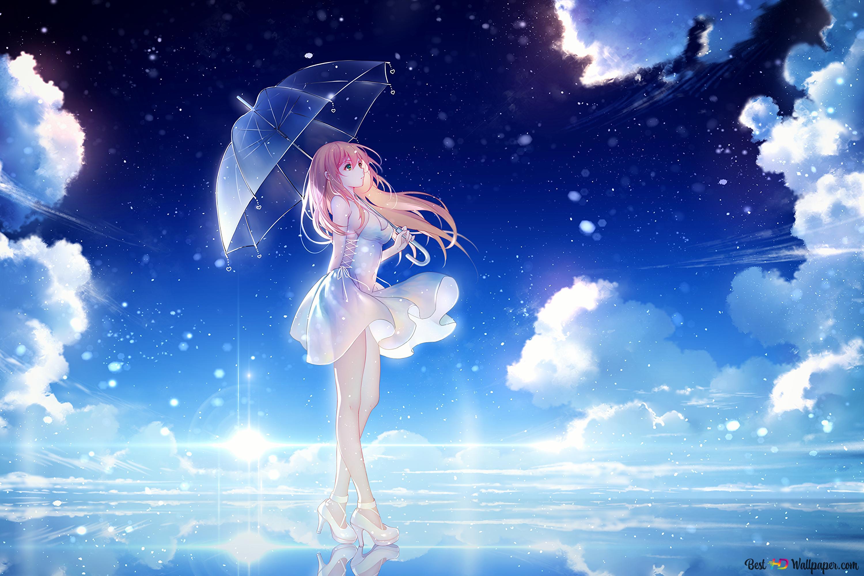 夜に美しいアニメの少女 Hd壁紙のダウンロード